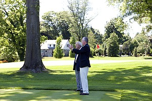 Arnold Palmer at Lancaster (Pa.) CC, host of the 2015 U.S. Women's Open, with tournament chairman Jerry Hostetter.