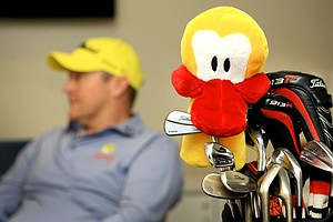 "The ""Leuk the Duck"" headcover, the mascot for Challenge, supporting kids with cancer, sits in the green room while Jarrod Lyle conducts more interviews with the media."