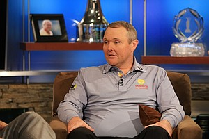 Jarrod Lyle talks with Ryan Burr, host of Golf Central, at Golf Channel on Tuesday, July, 8. 2014.