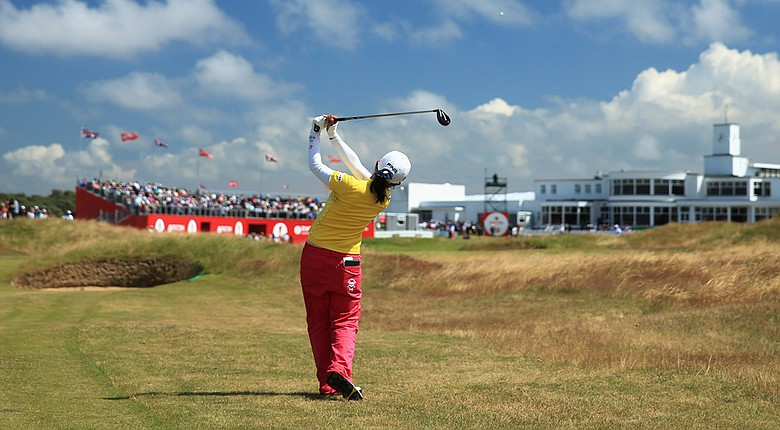 Ayako Uehara during the first round of the 2014 Ricoh Women's British Open at Royal Birkdale Golf Club in Southport, England.