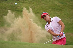Lexi Thompson during the third round of the 2014 Ricoh Women's British Open at Royal Birkdale Golf Club in Southport, England.