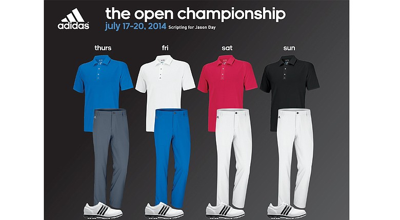 Jason Day's apparel for the 2014 Open Championship at Royal Liverpool.