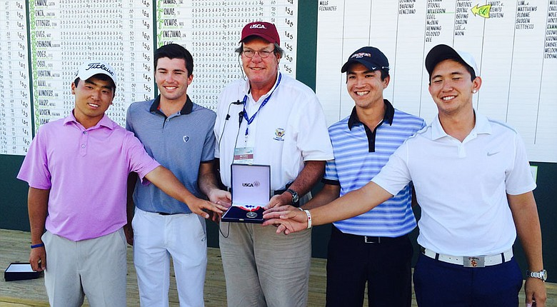 The U.S. Amateur Public Links stroke-play co-medalists, left to right: Doug Ghim, Zane Thomas, Byron Meth and Rico Hoey.