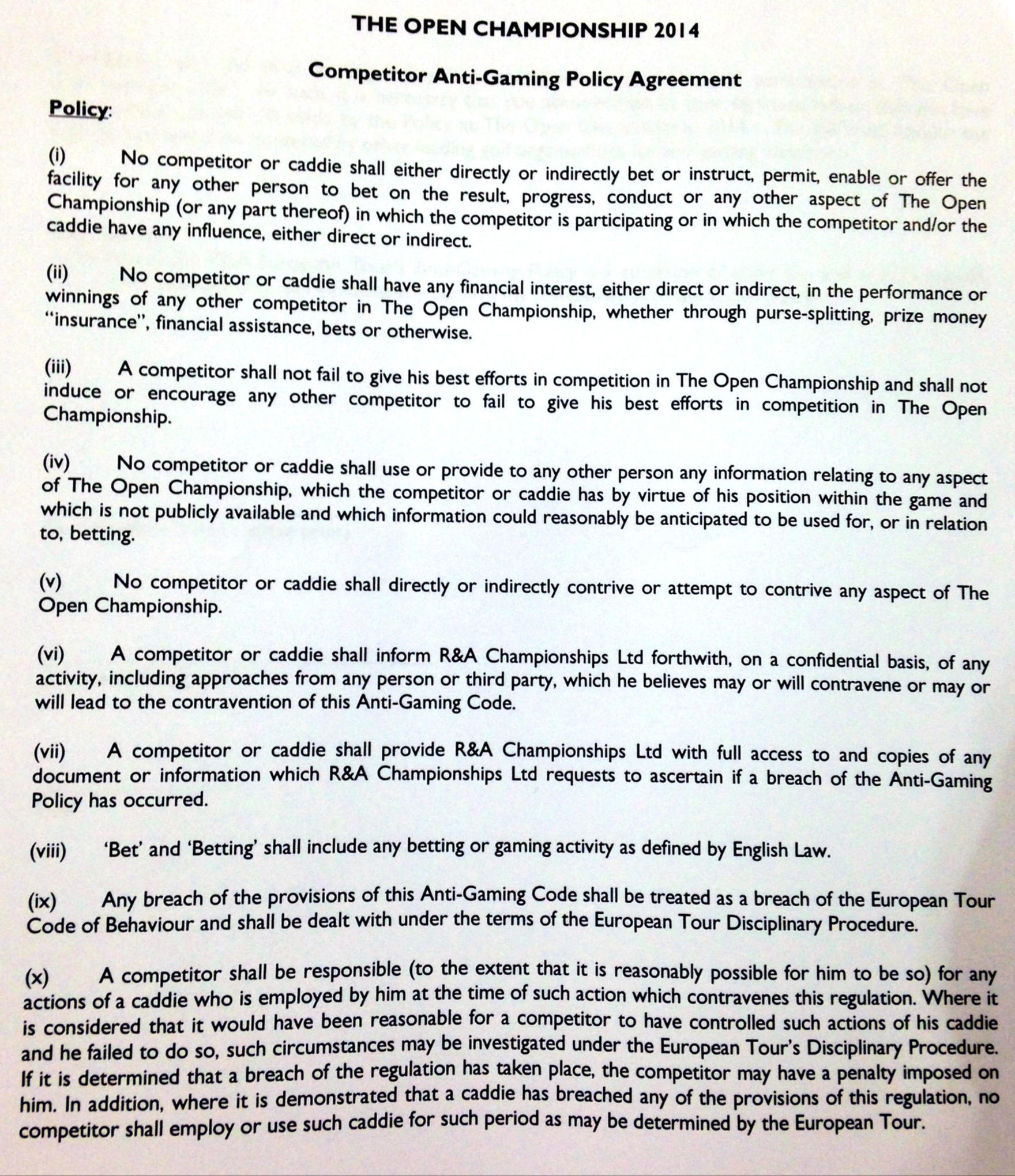 The Open Championship's Anti-Gaming Policy agreement that players signed prior to the 2014 tournament at Royal Liverpool.
