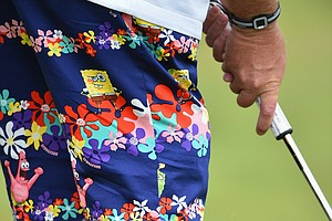 John Daly during Wednesday's practice round of the 2014 Open Championship at Royal Liverpool.
