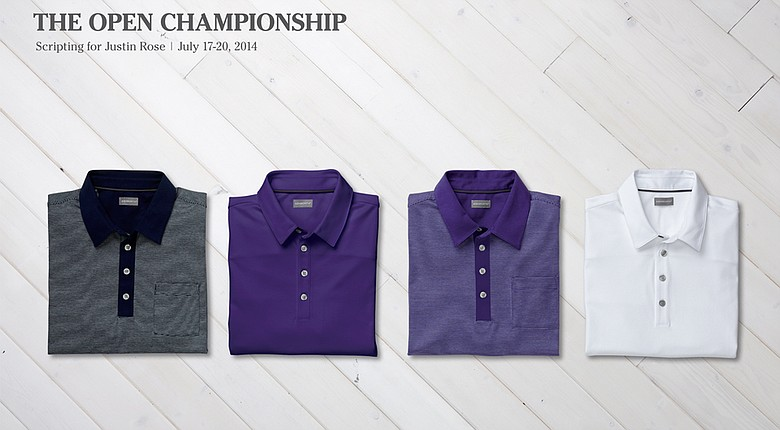Justin Rose's Ashworth Golf shirts for the 2014 Open Championship.