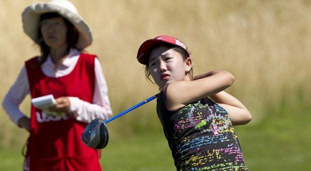 Lucy Li during her match-play loss Wednesday at the 2014 U.S. Women's Public Links in DuPont, Wash.