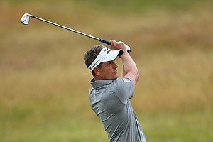 Luke Donald during Wednesday's practice round of the 2014 Open Championship at Royal Liverpool.