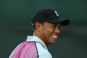 Tiger Woods during Wednesday's practice round of the 2014 Open Championship at Royal Liverpool.