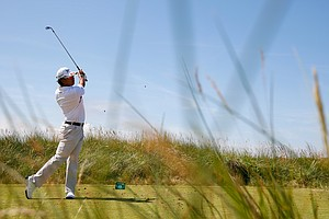 Hideki Matsuyama tees off on the 13th hole during the first round of the Open Championship at Royal Liverpool.