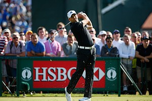 Sergio Garcia tees off on the third hole during the first round of the Open Championship at Royal Liverpool.