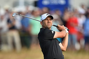 Sergio Garcia during Thursday's first round of the 2014 Open Championship at Royal Liverpool.