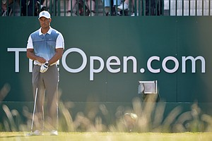 Tiger Woods during the first round of the 2014 Open Championship at Royal Liverpool.