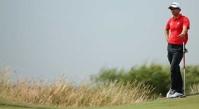 Adam Scott waits on the 14th green during the second round of the British Open at Royal Liverpool in Hoylake.