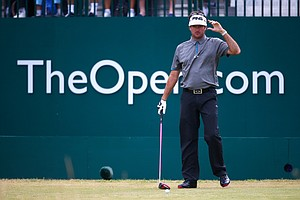 Bubba Watson during Friday's second round of the 2014 British Open at Royal Liverpool.