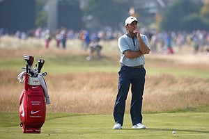 Francesco Molinari looks on during the second round of the 2014 British Open at Royal Liverpool in Hoylake.