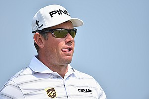 Lee Westwood waits on the ninth tee during the second round of the British Open at Royal Liverpool at Hoylake.