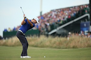 Martin Kaymer hits a shot on the third hole during the second round of the British Open at Royal Liverpool.