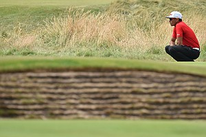 Rafael Cabrera-Bello waits on a green during the second round of the British Open at Royal Liverpool.