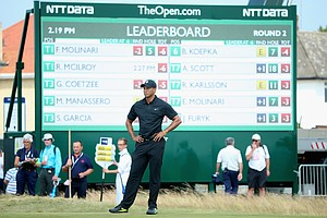 Tiger Woods waits on the first hole during the second round of the 2014 British Open at Royal Liverpool.