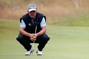 Darren Clarke looks on during the third round of 2014 British Open in Hoylake, England.