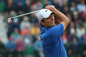 Francesco Molinari tees off on the fourth hole during the third round of the British Open at Hoylake.