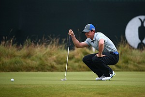 Rory McIlroy lines up on the third green during the third round of the British Open at Royal Liverpool.