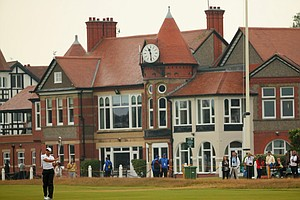 Sergio Garcia hits his second shot on the third hole during the third round of the British Open.