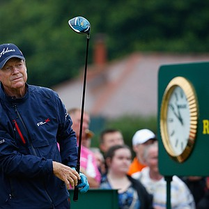 Tom Watson tees off during the third round of the 2014 British Open at Royal Liverpool in Hoylake, England.