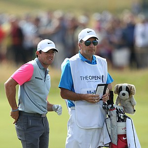 Rory McIlroy and caddie J.P. Fitzgerald during his 2014 British Open championship at Royal Liverpool in Hoylake, England.