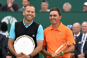 Runners-up Sergio Garcia and Rickie Fowler after Rory McIlroy won the 2014 British Open championship at Royal Liverpool in Hoylake, England.