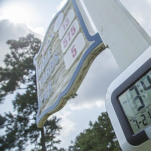 Thermometers reflect the heat players coped with during the first round of the 2014 U.S. Junior Amateur on Monday at The Club at Carlton Woods in The Woodlands, Texas.