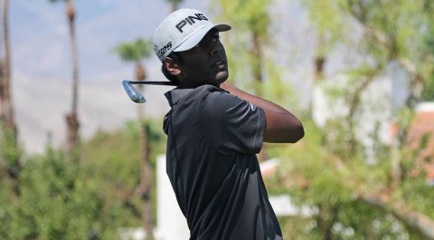 Sahith Theegala, who missed qualifying for the 2014 U.S. Amateur by a shot, kept his hopes of reaching the U.S. Junior final with a second-round victory, but now faces his friend, Sean Crocker, in the Round of 16.