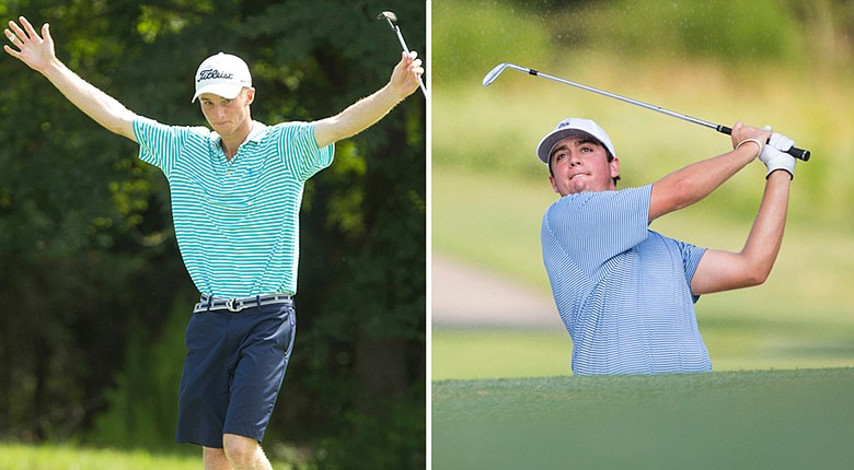 Will Zalatoris, left, and Davis Riley are all square through 18 holes of the scheduled 36-hole final of the 2014 U.S. Junior Amateur Saturday at The Club at Carlton Woods' Nicklaus Course in The Woodlands, Texas.