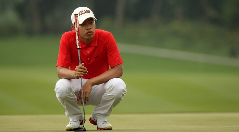 Tianlang Guan, shown here during the Volvo China Open, opened with a 4-under 67 in the first round of the Western Amateur at The Beverly Country Club.