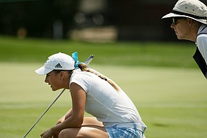 Gabrielle Shipley with her caddie at the 2014 U. S. Women's Amateur at Nassau Country Club.