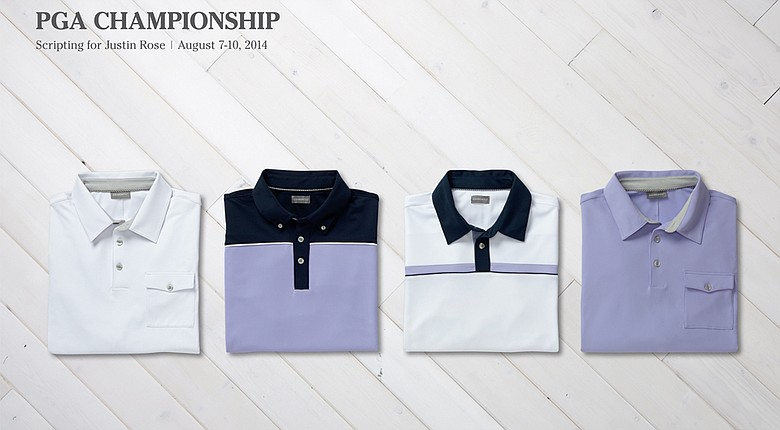 Justin Rose's scripted apparel for 2014 PGA Championship.