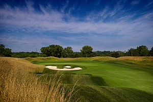 Hole No. 17, Par 4, 472 yards: Few holes at Valhalla offer a starker example of the advantages enjoyed by sheer power off the tee. The hole runs steadily uphill and calls for a clear option off the tee: a modest drive to the right, leaving a semi-blind approach of 185 yards, or a dramatic carry of the upswept bunker on the left, 320 yards away, leaving a straightforward, readily visible short-iron shot.