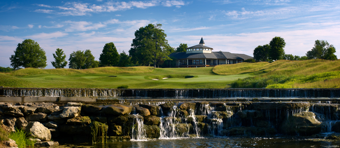 The 18th hole at Valhalla, 2014 PGA Championship host, leads to the clubhouse.