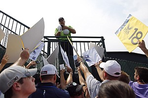 Fans reach out to Kenny Perry on Tuesday at Valhalla before the 2014 PGA Championship.