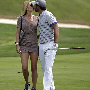 Pablo Larrazabal with his girlfriend during practice Tuesday at Valhalla before the 2014 PGA Championship.