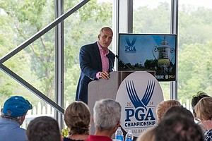 Pete Bevacqua of the PGA of America speaks Tuesday at Valhalla before the 2014 PGA Championship.