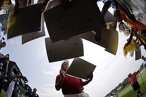 Fans crowd Phil Mickelson on Tuesday at Valhalla before the 2014 PGA Championship.