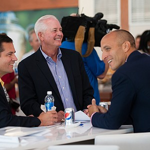 PGA Vice President Derek Sprague, PGA President Ted Bishop, and PGA CEO Pete Bevacqua share a light moment Tuesday at Valhalla before the 2014 PGA Championship.