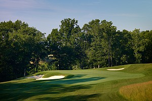 Hole No. 11, Par 3, 210 yards: This hole looks like it was scooped out and settled here – not entirely naturally, so that its modern look feels a bit manufactured. Whatever. These guys won't care and TV won't notice. A middle-iron shot heads to a green set diagonally from front right to back left, suspended over a very deep bunker left. The more demanding recovery is actually from behind, where a small bunker leaves a very tough downhill shot from up top.
