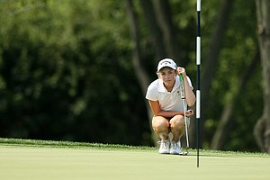 Karah Sanford looks over her putt at No. 10 during round of 64 at the 2014 U. S. Women's Amateur at Nassau Country Club. Sanford lost 3&2.