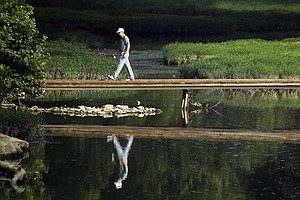 Hunter Mahan during a practice round Wednesday for the 2014 PGA Championship at Valhalla Golf Club in Louisville, Ky.