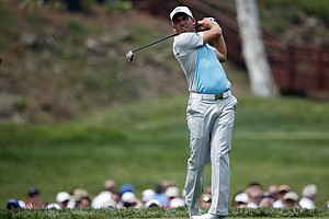Sergio Garcia during Wednesday's practice round of the 2014 PGA Championship at Valhalla.