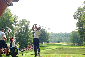 Tiger Woods tees off on No. 3 during a practice round at Valhalla for the 2014 PGA Championship.