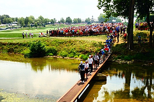 Tiger Woods makes his way to No. 2 at Valhalla during a 2014 PGA Championship practice round.